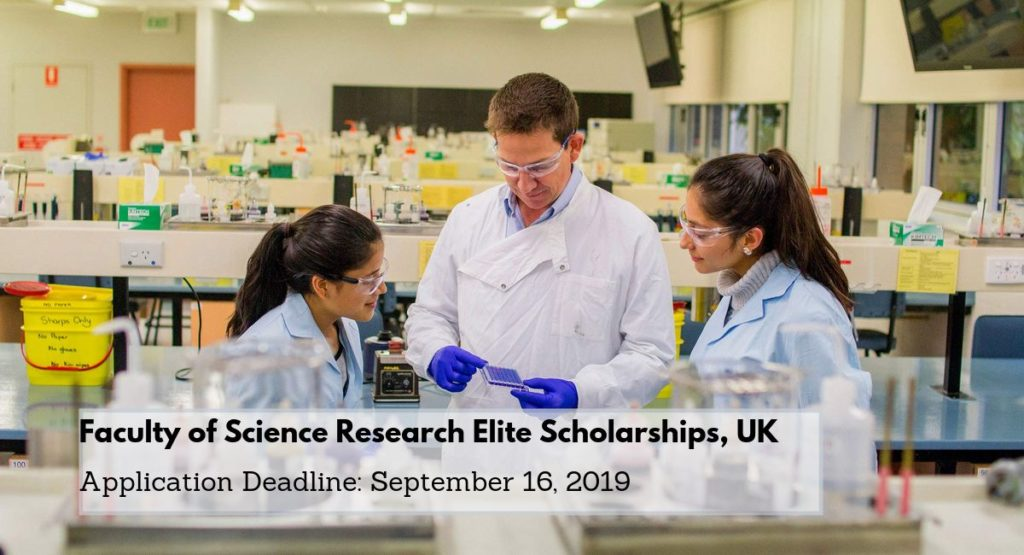 Faculty of Science Research Elite Scholarships, UK
