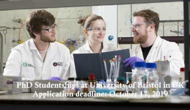 PhD Studentships at University of Bristol in UK