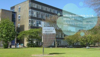 University of Bradford MSc Scholarship in UK