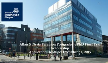 Allan & Nesta Ferguson Postgraduate PhD Final Year Scholarship in UK