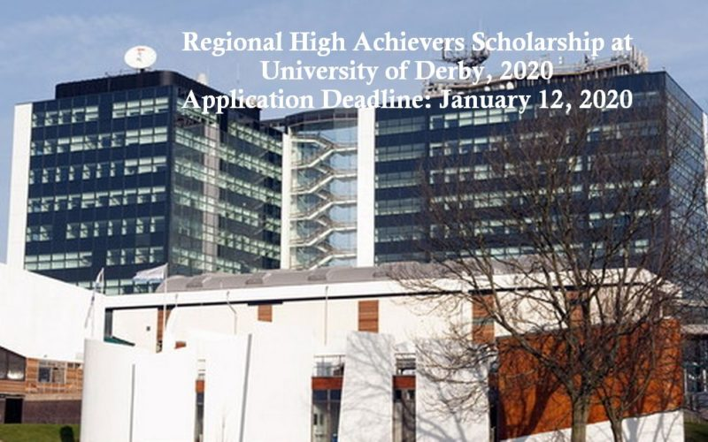 Regional High Achievers Scholarship at University of Derby, 2020