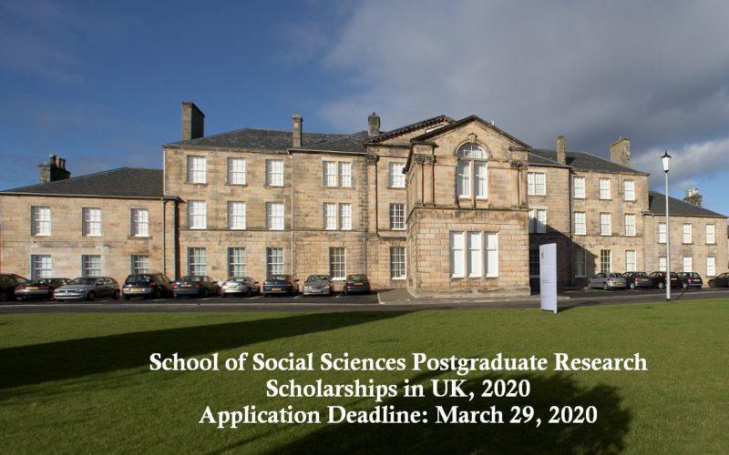 School of Social Sciences Postgraduate Research Scholarships in UK, 2020
