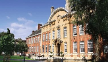 University of Northampton International Scholarship in UK, 2020